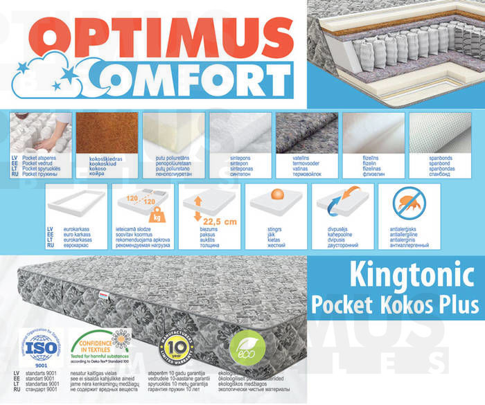 120*200 Kingtonic Pocket kokos Plus Matracis
